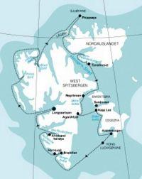 "Карта маршрута ""Круиз вокруг Шпицбергена.  Лето  2010"""